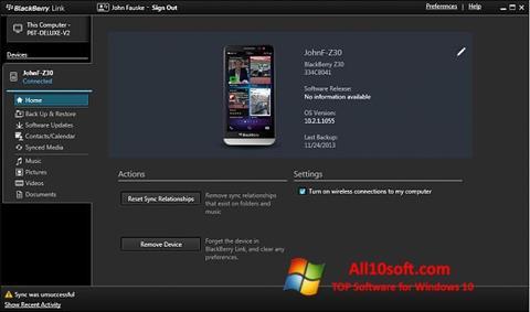 Screenshot BlackBerry Link Windows 10