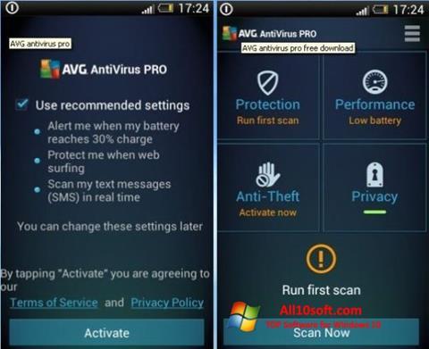 Screenshot AVG AntiVirus Pro Windows 10