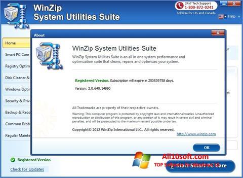 Screenshot WinZip System Utilities Suite Windows 10