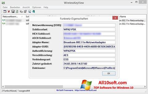 Screenshot WirelessKeyView Windows 10