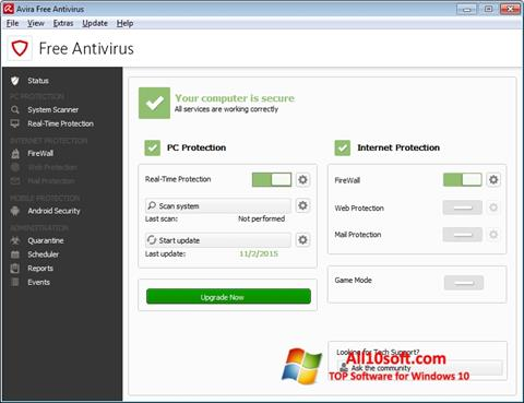 Screenshot Avira Free Antivirus Windows 10