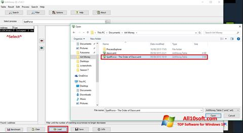 Screenshot ArtMoney Windows 10