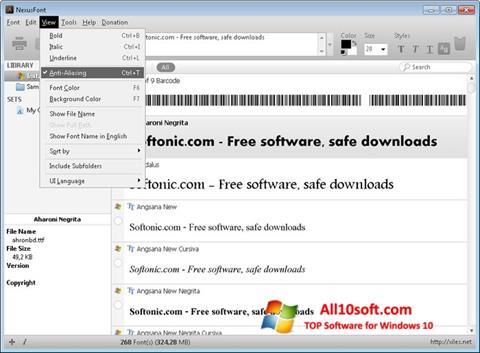 Screenshot NexusFont Windows 10