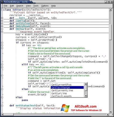 Screenshot SciTE Windows 10