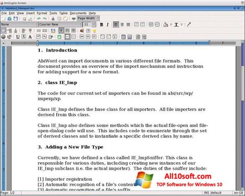 Screenshot AbiWord Windows 10