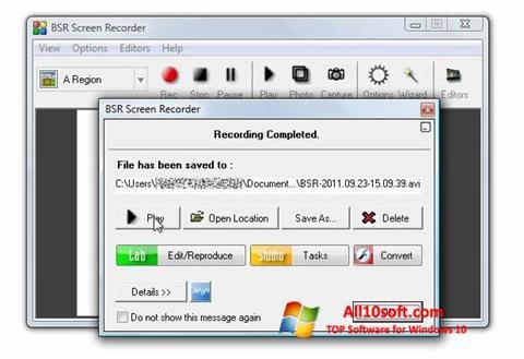 Screenshot BSR Screen Recorder Windows 10