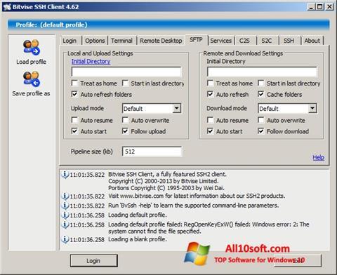 Screenshot Bitvise SSH Client Windows 10