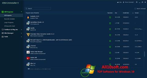Screenshot IObit Uninstaller Windows 10