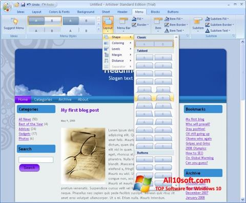 Screenshot Artisteer Windows 10